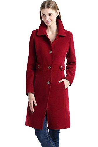 BGSD Women's 'Heather' Missy & Plus Size Wool Blend Walking Coat – Small, Wine