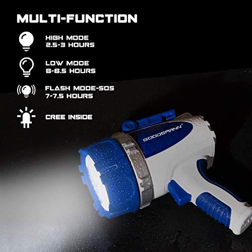 GOODSMANN Submersible Cree LED Spotlight Powerful 3000 Lumen (30Watt Waterproof and Floating LED Rechargeable Spotlight) 9924-H101-01 by GOODSMANN (Image #1)