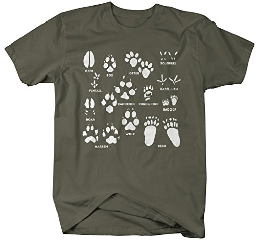 Shirts By Sarah Men's Animal Tracks T-Shirt Hunting Shirts Hunter Season (Mil. Green Large) (Animal Tracks T-shirt)