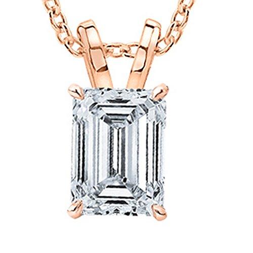 1/2 Carat GIA Certified 14K Rose Gold Solitaire Emerald Cut Diamond Pendant (0.5 Ct I-J Color, VVS1-VVS2 Clarity) w/ 18