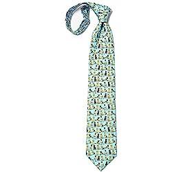 Corbata de hombre 100% de seda para perros grandes con diseño de perro, Azul claro, Talla única