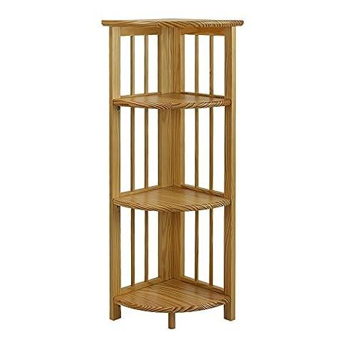 Casual Home 4 Shelf Corner Bookcase, Natural - Mission Style Corner
