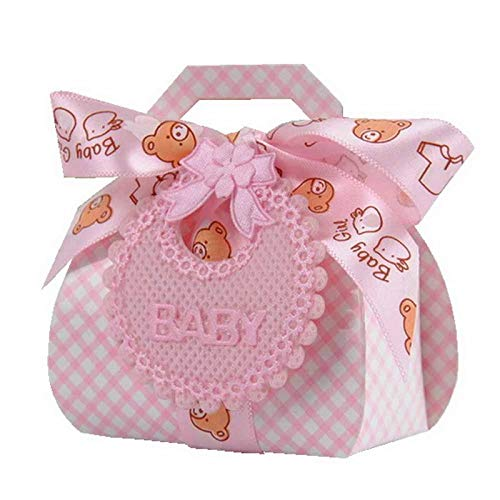 - BestTeam Baby Shower Favor Box, 24PCS Bear Shape DIY Paper Wedding Gift Christening Party Favor Chocolate Cake Dragee Boxes Candy Box with Bib Tags & Ribbons (Pink)