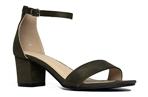 J. Adams Daisy Mid Heel Sandal, Olive Suede, 9 B(M) US ()