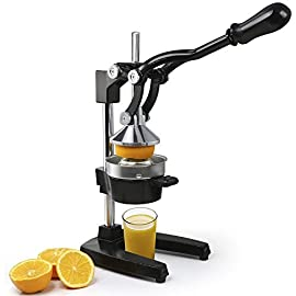 ROVSUN Commercial Grade Citrus Juicer Hand Press Manual Fruit Juicer Juice Squeezer Citrus Orange Lemon Pomegranate (Black) 4 1. Beautiful and reliable tabletop juice extractor. Stainless steel top strainer which eliminates pulp and seeds 2. Strong and durable iron connector and handle. Efficiently squeezes every drop of juice from the fruit 3. Guarantee taste and quality, extremely eco-friendly and safe to use 4. Easy for quick cleaning 5. Professional-quality juice extractor for home, made of cast iron and stainless steel. Easy hand wash cone and funnel parts