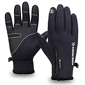Mens Winter Waterproof Warm Fur Gloves Touch Screen Gloves Cycling Gloves