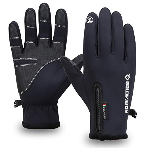 Mens Winter Waterproof Warm Fur Gloves Touch Screen Gloves Cycling Gloves L