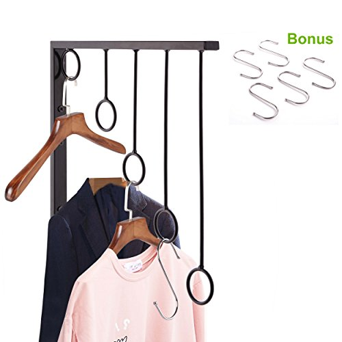OKOMATCH Clothes Hanger Wall Mounted Clothing Organizer/Drying Rack/Garment Dispaly + 5Pcs Stainless Steel Hooks,Indoor & Outdoor Use,Heavy Duty (Expansion Rack Cabinet)