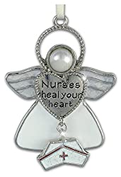 Nurses Heal Your Heart Hanging Ornament Angel with Hat Charm