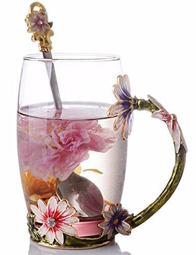 NBHUZEHUA Glass Mug Cup for Coffee Tea Milk (Decorated Coffee Spoons)