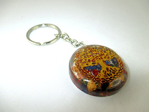 Orgone Key chain - HiJet Beautiful Mix Chakra Tree of life Orgonite Key Ring Orgone Generator Balancing Positive Energy Harmony Luck Yoga Meditation Reiki Natural Genuine Authentic Fashion Style