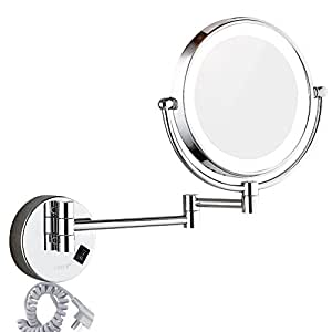 Amazon dowry wall mounted led lighted vanity makeup mirror with dowry wall mounted led lighted vanity makeup mirror with 10x magnificationchrome finish and 8 audiocablefo