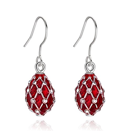 TF Charms Egg Charm Earrings with Swarovski Crystals Elements,925 Sterling Silver Hooks (Silver Red)
