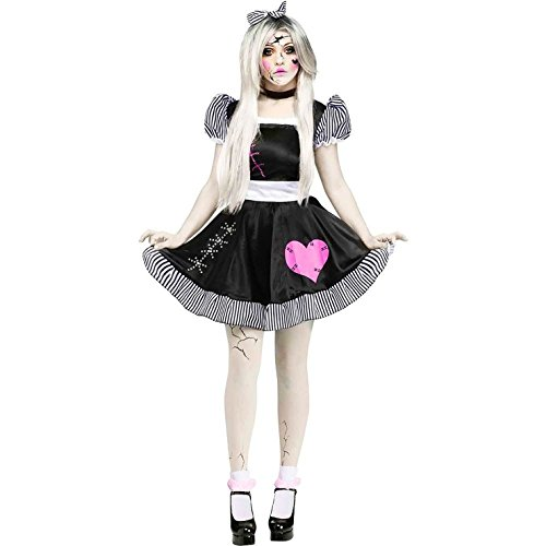 Scary Woman (Fun World Costumes Women's Broken Doll Adult Costume, Black/White, Medium/Large)