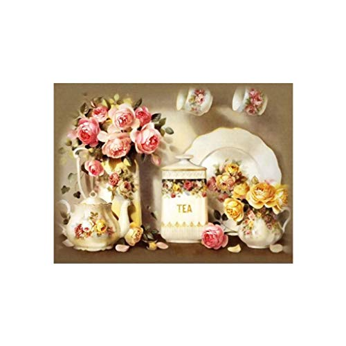 Baosity Full Drill DIY 5D Flower and Tea Pot Diamond Sticker Embroidery Cross Stitch Painting by Number Kit Arts Crafts