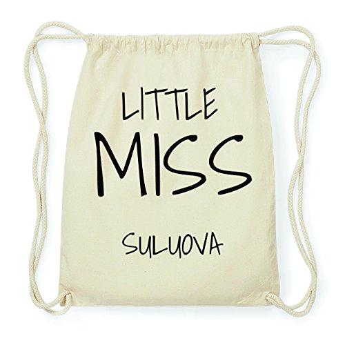 JOllify SULUOVA Hipster Turnbeutel Tasche Rucksack aus Baumwolle - Farbe: natur Design: Little Miss