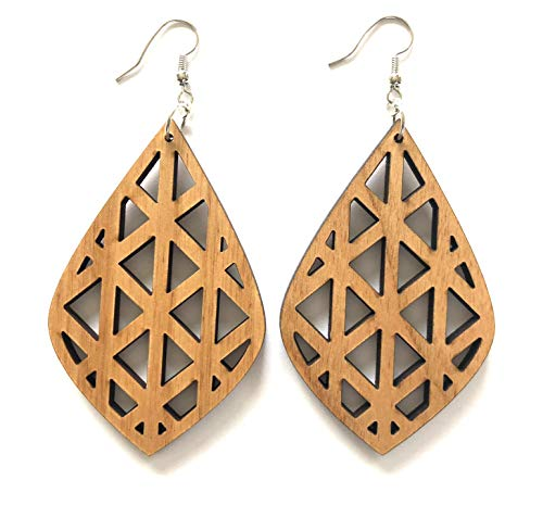 Grounded Goods Design Teardrop Cutout Wood Earrings (Beige/Alder)