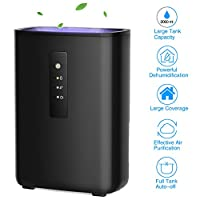 TRUSTECH Electric Dehumidifier Portable 4.2 Pints Touch Control 2L Water Tank Spaces up to 269 Sq.ft, Small Home Bedroom Basement RV Caravan Office Garage Kitchen Black