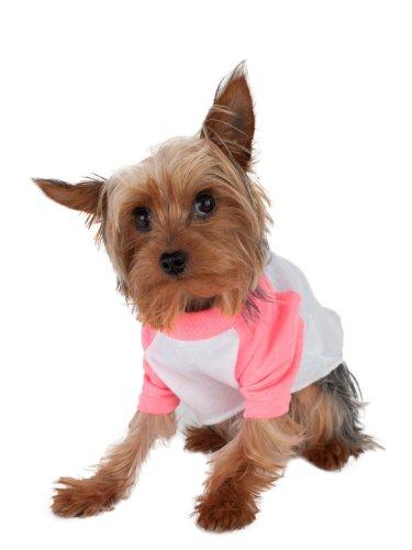American Apparel Poly-Cotton 3/4 Sleeve Dog Raglan - White / Neon Heather Pink / M