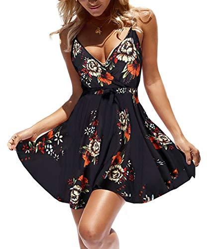 casuress Women Dress Summer V Neck Mini Floral Print Swing Dress Sleeveless Spaghetti Strap Skater Dresses with Belt (X-Large, Type 2)