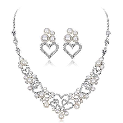 Brishow Wedding Rhinestone Necklace Earrings Jewelry Set Silver Pearl Bridal Choker with Heart Design for Women