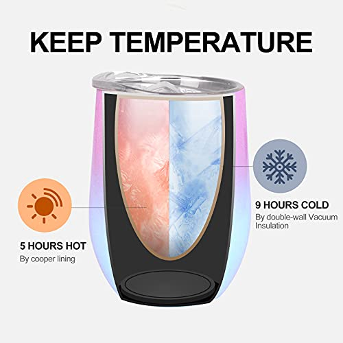 12 oz Wine Tumbler with Leakproof Lid, Stainless Steel Vacuum Insulated Wine Glasses Stemless, Spill Proof Travel Cup for Cocktails, Gift for Women, Mother, Wife, Girls, Pink-blue Gradient 1 pack