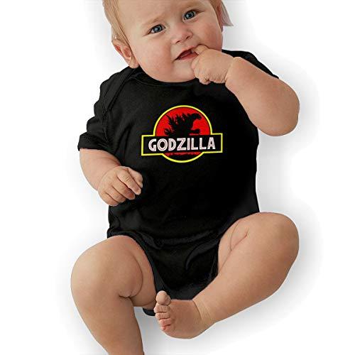 Eowlte God-Zilla Unisex Kids Short-Sleeve Baby Onesie Black 2T