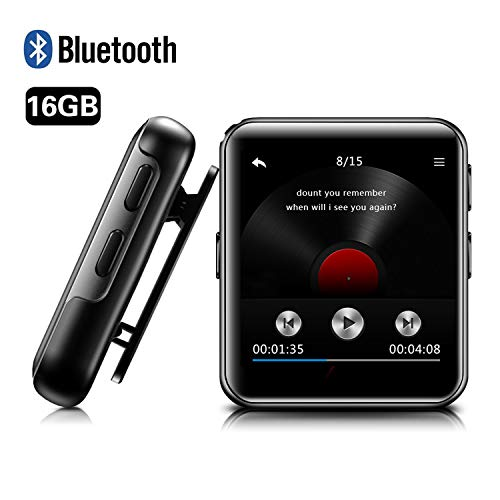 16GB Clip MP3 Player with Bluetooth, BENGJIE Portable Music Player with Headphones,HiFi Metal Audio Player with FM Radio,Voice Recorder,E-Book, 1.5 Inch Touch Screen Mini MP3 Player for Running,Sliver