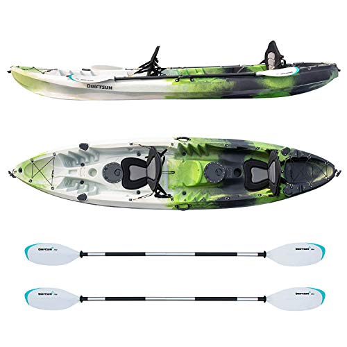 Driftsun Teton 120 Hard Shell Recreational Tandem Kayak, 2 or 3 Person Sit On Top Kayak Package with 2 EVA Padded Seats, Includes 2 Aluminum Paddles and Fishing Rod Holder Mounts, Green/Blue 2 Person Travel Kayak