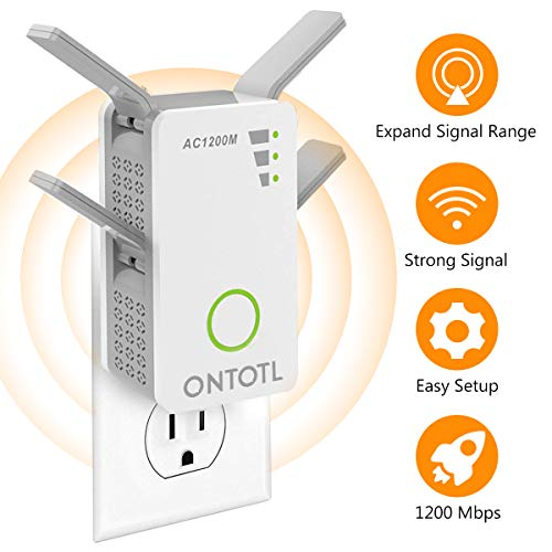 WiFi Range Extender Wireless Repeater,ONTOTL 1200Mbps WiFi Extender Internet Signal Booster with 4 External Antennas,Full Coverage WiFi Signal Amplifier Dual External Band Available 2.4GHz and 5GHz by ONTOTL