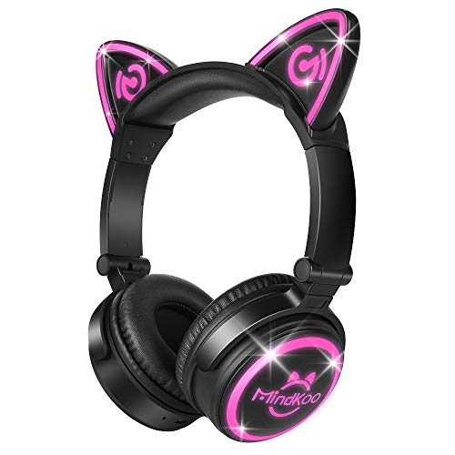 MindKoo Bluetooth Headphones Over-Ear Wireless Headphones Cat Ear Headphones with LED Light Foldable Built-in Microphone and Volume Control for PC Cell Phones Kids Teenager Boys Girls Adults