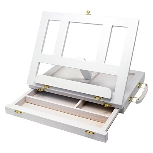 ZagGit Desktop Adjustable White Wood Art and Book Easel - Light Weight, Sturdy with Storage Drawer
