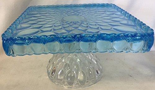 Mosser Glass Elizabeth Pattern Square Cake Plate - Sapphire Blue (Aqua) & Crystal