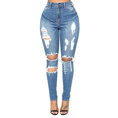 Delgados Azul Alta Desgastados Pantalones Lápiz color Metro De Alta Rasgados Mujeres Jean Azul Zoodq Cintura Las Tamaño Hx8SnwnF