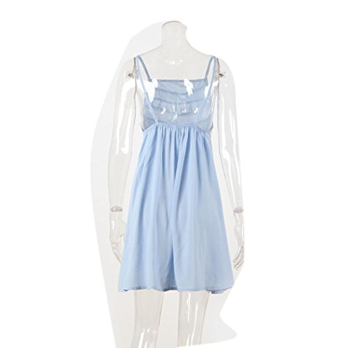 Damen Sommerkleid, Bekleidung Longra Damen ärmellose Mini Polyester Kleider Damen Quaste Sommer Strandkleid Blue