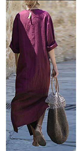 Vestito Tasca Marsupio Lungo Donna Laterale A Spacco Vino Allentata V Jaycargogo Collo Rosso Sportiva Svxxa