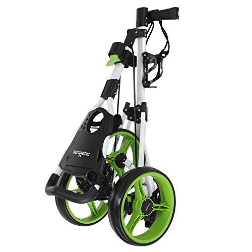 Caddymatic Golf X-TREME 3 Wheel Push/Pull Golf Cart with Seat White/Green by Caddymatic (Image #2)
