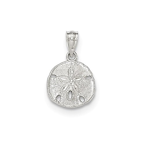 14k White Gold Textured Sand Dollar Sea Star Starfish Pendant Charm Necklace Shore Shell Fine Jewelry Gifts For Women For Her
