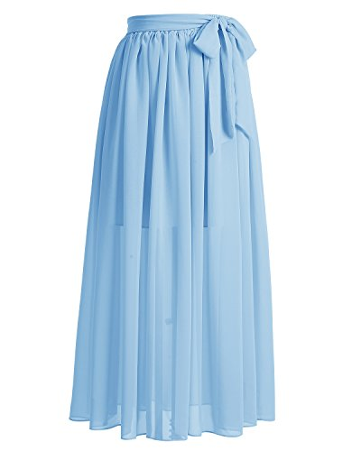 Dresstells®Falda Larga Vintage Retro Gasa Mujer Fiesta Plisada Cinturón Lazo Azul