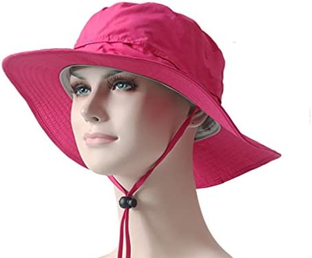 Women s 100 Cotton Fishing Hunting Summer Bucket Cap Hat Rose Red