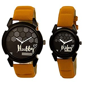 Om Designer Analogue Round Black Dial Hubby-Wifey Men & Women Couple Watch – Popular Couple Bown Belt #215LJK