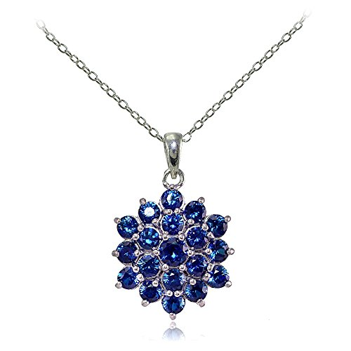 - Ice Gems Sterling Silver Created Sapphire Flower Necklace
