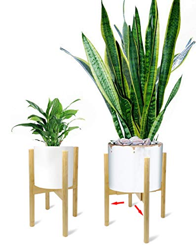 Mid Century Adjustable Plant Stand - Stunning Natural Bamboo - Fits All Widths 8 to 12 inches - 150lb Capacity (Natural Bamboo)