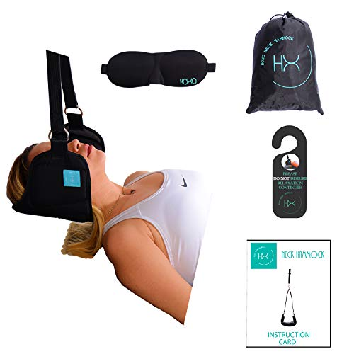 ✮ The Original Hoxo Neck Hammock Premium ✮-Unique Design,Portable Cervical Traction and Stretcher Device for Chronic Neck and Shoulder Pain Relief, Thick Durable Sewn-in Elastic Strap, Head ()