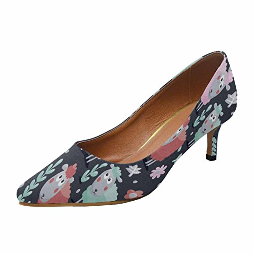 Pointed Multi InterestPrint Animals Sheep Cute Kitten Heel Plants and Flowers Shoes Low 1 Bulbs Made Dress Pump Womens Toe With Pattern HIHrfwqBn