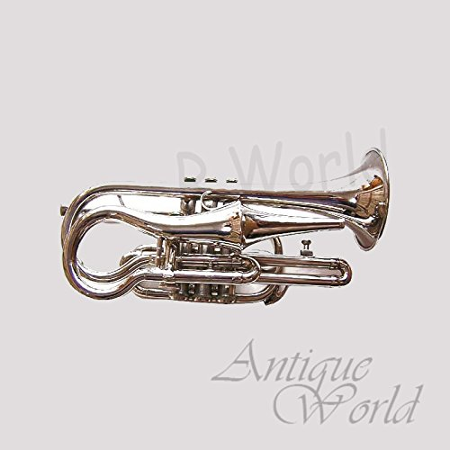 Antiques World Silver Finish Trumpet Pocket Cornet Bb Very Rare Re-Creation AWUSAMI 0103 by Antiques World