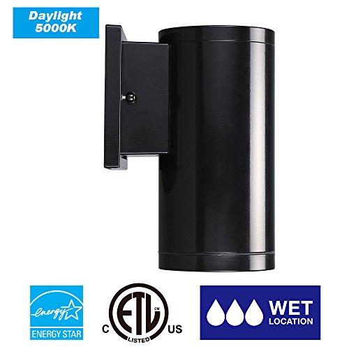 Cloudy Bay LOWLD413850BK LED Outdoor Wall Light Fixture,ETL ENERGY STAR Certified Modern LED Cylinder Porch Light,13W 1000 lumen, Black