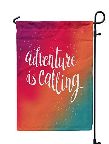 Shorping Welcome Garden Flag, 12x18Inch Drawn Phrase Adventure Calling Lettering Design on Abstract Textured for Holiday and Seasonal Double-Sided Printing Yards Flags