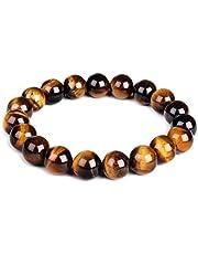 10mm Natural Tiger Eye Bracelet Elastic Yoga Gemstones Healing Energy Men Women Stretch Bracelet