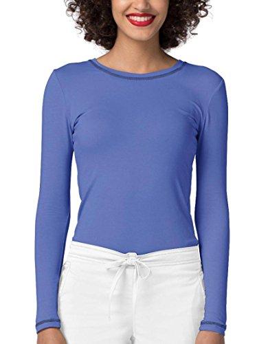 Adar Womens Comfort Long Sleeve Fitted T-Shirt Underscrub Tee- 3400 - Ceil Blue - XXS